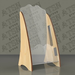 Буклетница из дерева и пластика - еврофлаер