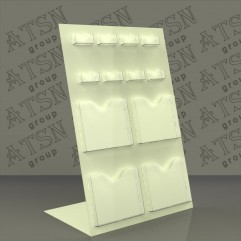 Буклетница для полиграфии из пластика молочного цвета