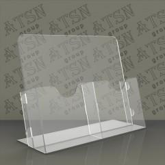 Подставка для полиграфии на 2 отделения прозрачная