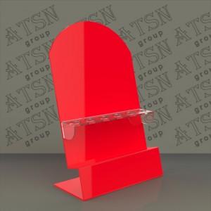 Подставка из красного и прозрачного акрила для косметики