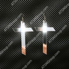 Серьги. Крест из зеркального золотого акрила
