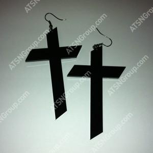 Серьги. Крест черный
