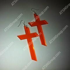 Серьги. Крест оранжевый