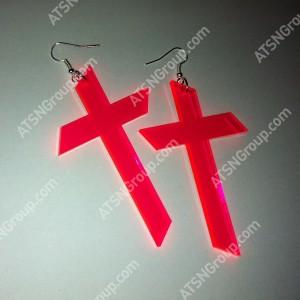 Серьги. Крест розовый