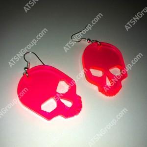 Серьги. Розовый череп
